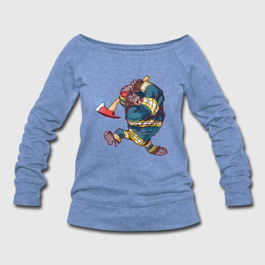 Firefighter_Gorilla_Swinging_Axe - Women's Wideneck Sweatshirt