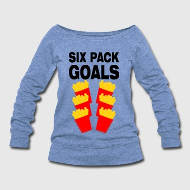 Gainz six pack goals french fries fitness training gym - Women's Wideneck Sweatshirt