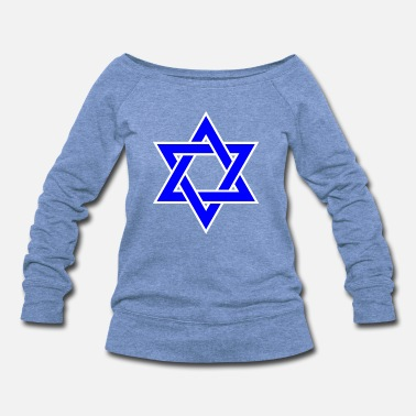 David Star of David | Blue Star Jewish Religion Symbol - Women's Wideneck Sweatshirt