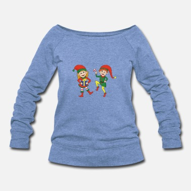 Jingle Bells Funny Cool Cute Christmas Elf Elves Xmas Gifts - Women's Wideneck Sweatshirt