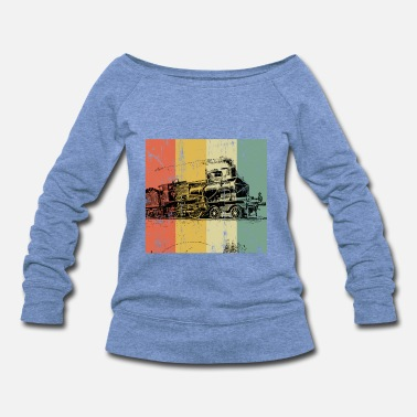 Steam Engine Trains Locomotive Steam Railroad Railway vintage - Women's Wideneck Sweatshirt