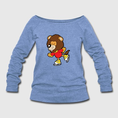 Skate Cute Funny Cool Lion - Women's Wideneck Sweatshirt