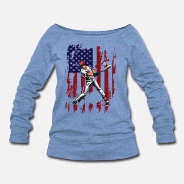 Players BASEBALL PLAYER AMERICAN USA FLAG - Women's Wide-Neck Sweatshirt