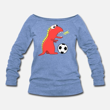 Funny Dinosaur Soccer Player - Women's Wide-Neck Sweatshirt