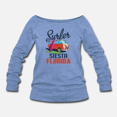 Apple Surfing Siesta Florida Shirt Retro Surfer Tee Big - Women's Wideneck Sweatshirt