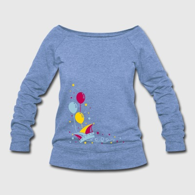 Carnival hat with balloons, streamer and confetti. - Women's Wideneck Sweatshirt