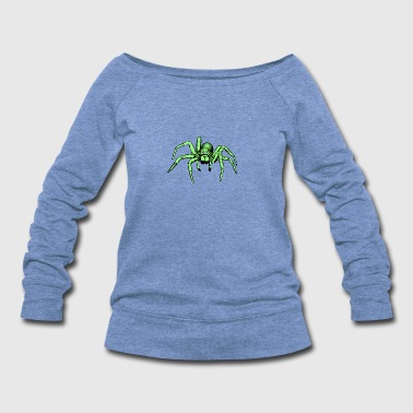 green spider / giant spider - Women's Wideneck Sweatshirt