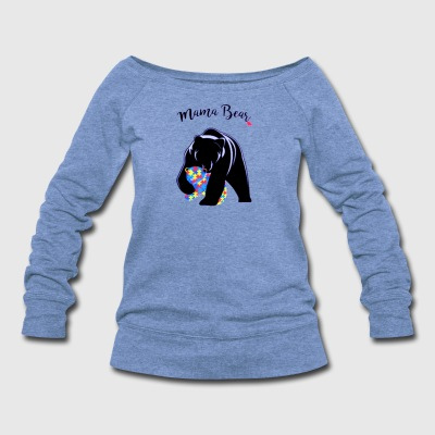 Autism Awareness Mom Mama Bear - Women's Wideneck Sweatshirt