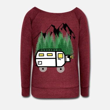 Fantasy Car Motorhome Caravan Traveller leisure Hippie - Women's Wide-Neck Sweatshirt