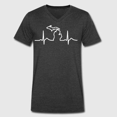 Michigan Heart Beat Clothing Apparel Shirts - Men's V-Neck T-Shirt by Canvas