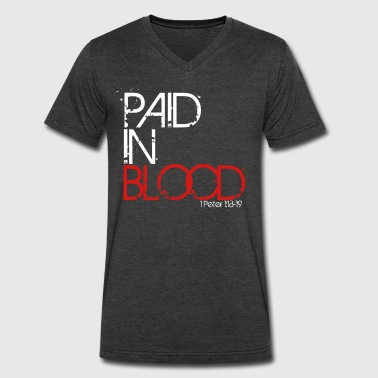Blood Of Jesus Paid In Blood - Men's V-Neck T-Shirt by Canvas