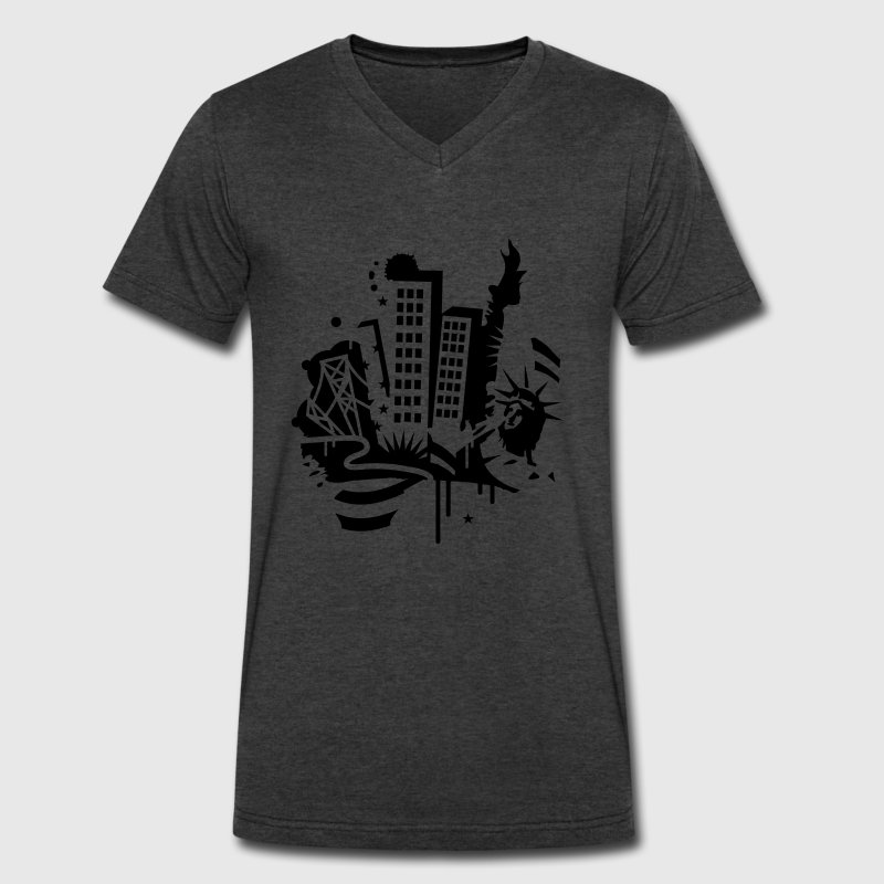 A New York City Design   in graffiti style - Men's V-Neck T-Shirt by Canvas