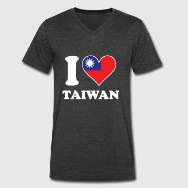 I Love Taiwan Taiwanese Flag Heart - Men's V-Neck T-Shirt by Canvas