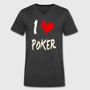 Girlfriend Poker I love POKER - Men's V-Neck T-Shirt by Canvas