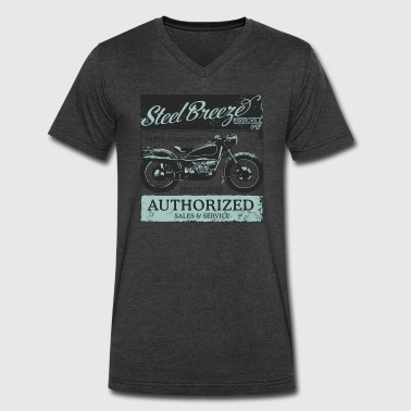 Steel Breeze Moto Shop - Men's V-Neck T-Shirt by Canvas