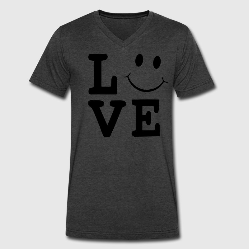 LOVE SMILEY FACE - Men's V-Neck T-Shirt by Canvas