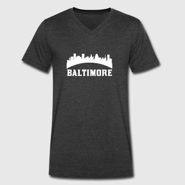 Vintage Style Skyline Of Baltimore MD - Men's V-Neck T-Shirt by Canvas