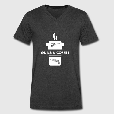Guns Coffee Guns and coffee - Men's V-Neck T-Shirt by Canvas