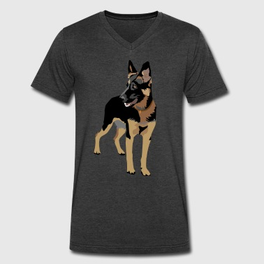 German Shepherd (ADD CUSTOM TEXT) - Men's V-Neck T-Shirt by Canvas