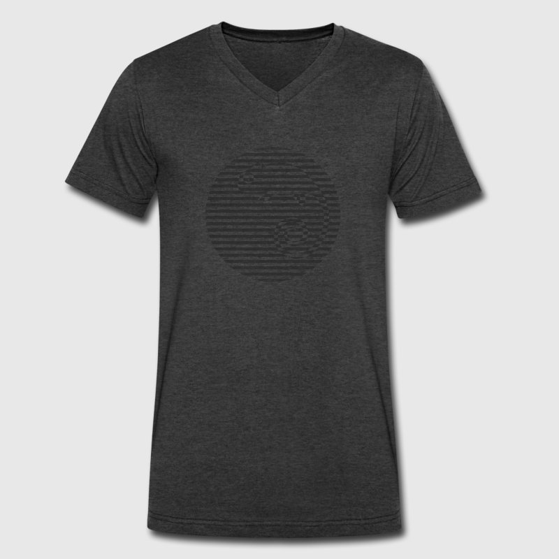striped chameleon - Men's V-Neck T-Shirt by Canvas