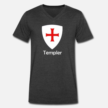 Red Crusades Knight of the temple - Men's V-Neck T-Shirt by Canvas