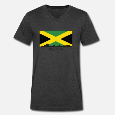 Jamaican Jamaica Kingston Jamaica Skyline Jamaican Flag - Men's V-Neck T-Shirt by Canvas