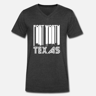 Fort Worth Texas Retro Fort Worth Texas Skyline - Men's V-Neck T-Shirt by Canvas