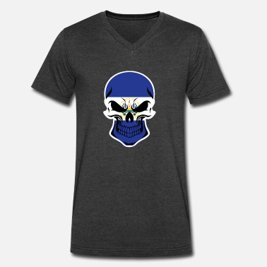 El Salvadorian El Salvadorian Flag Skull - Men's V-Neck T-Shirt by Canvas