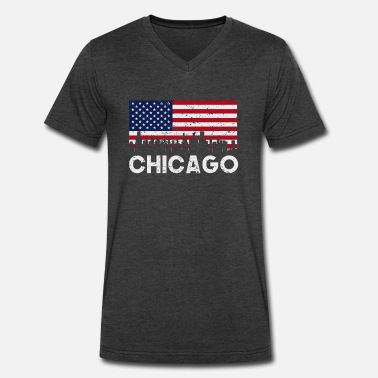 Chicago American Flag Chicago IL American Flag Skyline Distressed - Men's V-Neck T-Shirt by Canvas