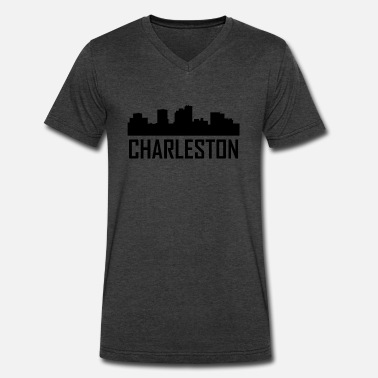 Charleston Wv Charleston West Virginia City Skyline - Men's V-Neck T-Shirt by Canvas