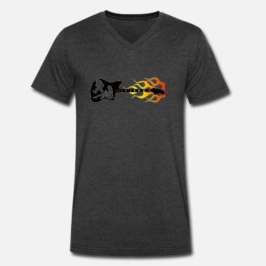 Flaming Guitar Guitar,Chicks,Flames - Men's V-Neck T-Shirt by Canvas