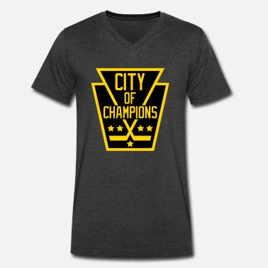 City Of Champions City of Champions - Black and Gold - Men's V-Neck T-Shirt by Canvas