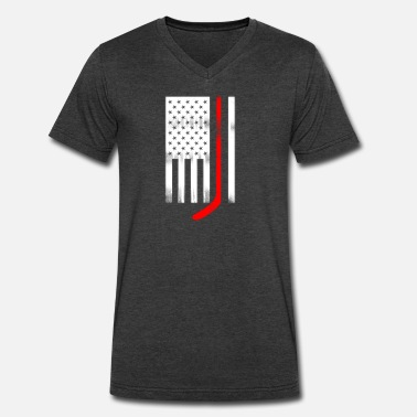 Flags Hockey Stick USA Flag Red Hockey Stick - Men's V-Neck T-Shirt by Canvas