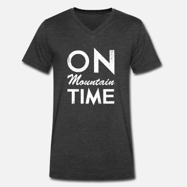 Mountain Time On Mountain Time - Men's V-Neck T-Shirt by Canvas
