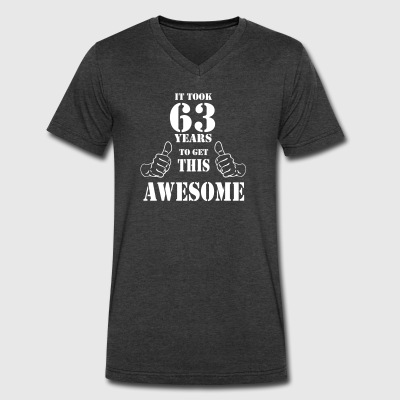 63rd Birthday Get Awesome T Shirt Made in 1954 - Men's V-Neck T-Shirt by Canvas