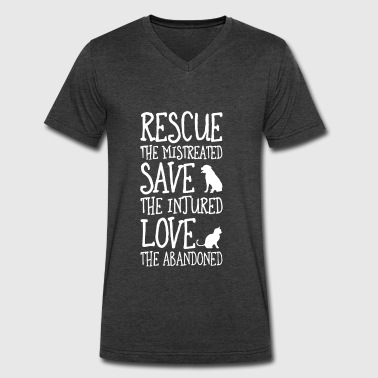 rescued the mistreated save the injured - Men's V-Neck T-Shirt by Canvas