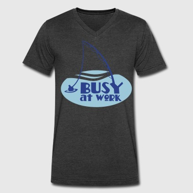 busy at work FISHING SHIRT funny! - Men's V-Neck T-Shirt by Canvas
