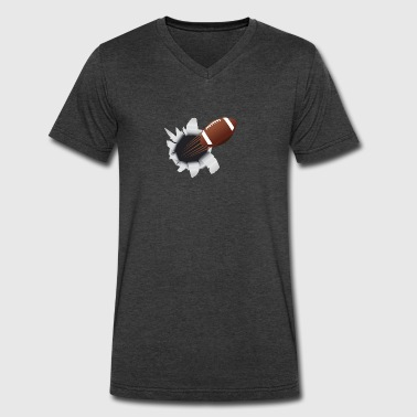 Football Flying Out Of Hole - Men's V-Neck T-Shirt by Canvas