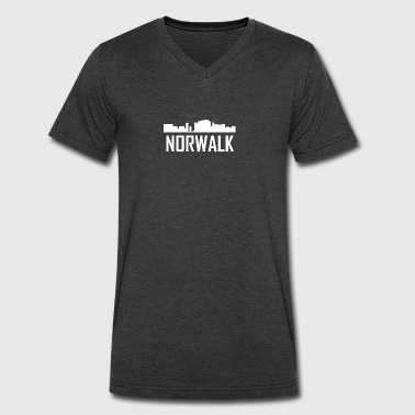 Norwalk Connecticut City Skyline - Men's V-Neck T-Shirt by Canvas