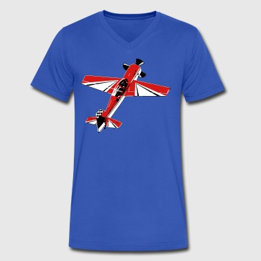 Acrobatic 3D Airplane - Men's V-Neck T-Shirt by Canvas