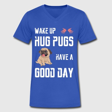 pugs hug - Men's V-Neck T-Shirt by Canvas