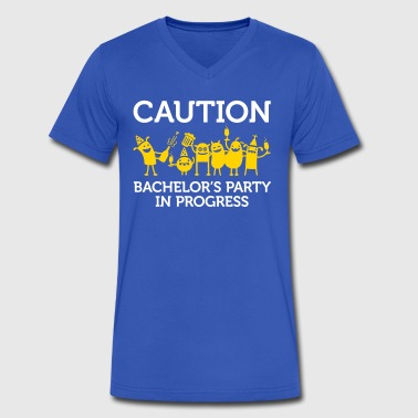 Caution: Bachelor's Party In Progress! - Men's V-Neck T-Shirt by Canvas
