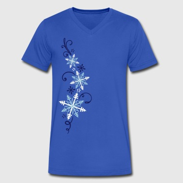 Snowflakes design. Winter, ice and snow. - Men's V-Neck T-Shirt by Canvas