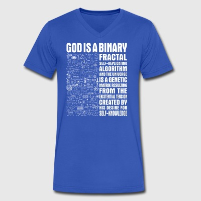 God is a binary, fractal, self-replicating - Men's V-Neck T-Shirt by Canvas