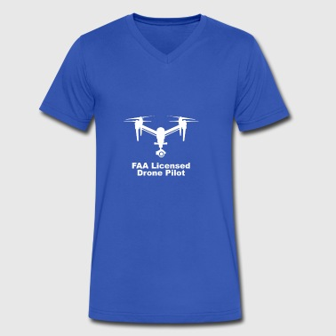 FAA Licensed Drone Pilot square logo - Men's V-Neck T-Shirt by Canvas