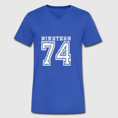 Nineteen 1974 - Men's V-Neck T-Shirt by Canvas