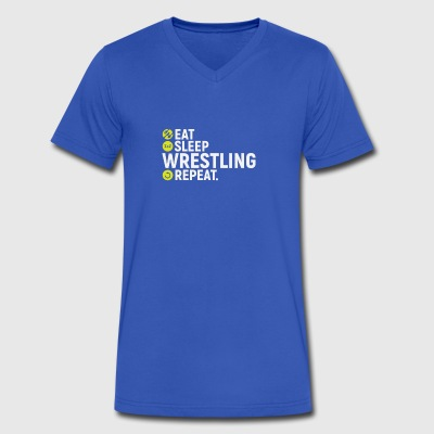 Eat, sleep, wrestling, repeat - gift - Men's V-Neck T-Shirt by Canvas