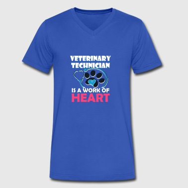 Veterinary Technician Is Work Of Heart - Men's V-Neck T-Shirt by Canvas