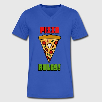 Pizza Rules! - Men's V-Neck T-Shirt by Canvas