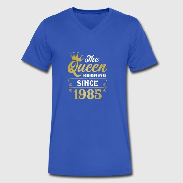 The Queen Reigning Since 1985 - Men's V-Neck T-Shirt by Canvas